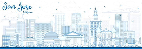 Outline San Jose California Skyline with Blue Buildings. - Buildings Objects