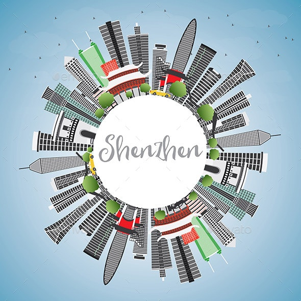 Shenzhen Skyline with Gray Buildings, Blue Sky and Copy Space. - Buildings Objects