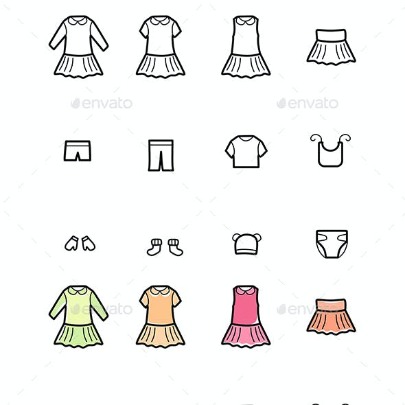 Baby Clothes Line Icons Set