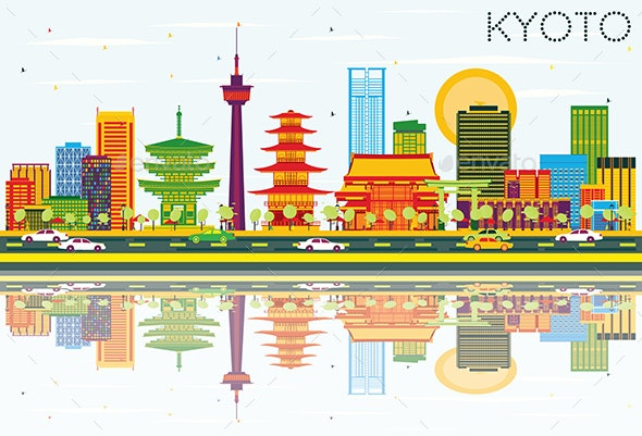 Kyoto Skyline with Color Buildings, Blue Sky and Reflections. - Buildings Objects