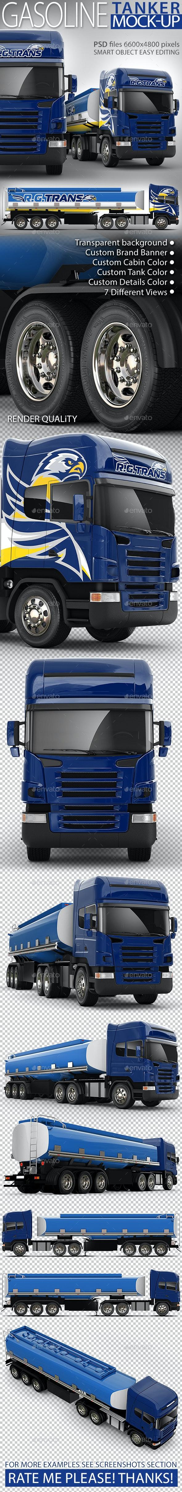 Semi-trailer tank truck Mock-up - Vehicle Wraps Print