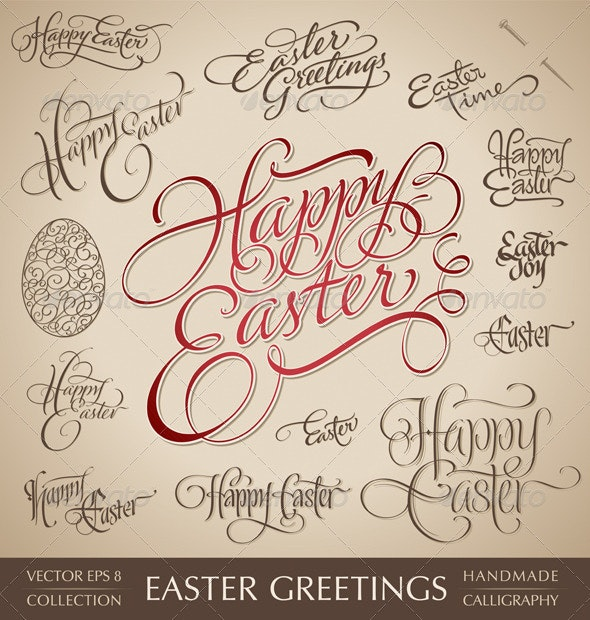 Easter Greetings Hand Lettering (vector) - Seasons/Holidays Conceptual