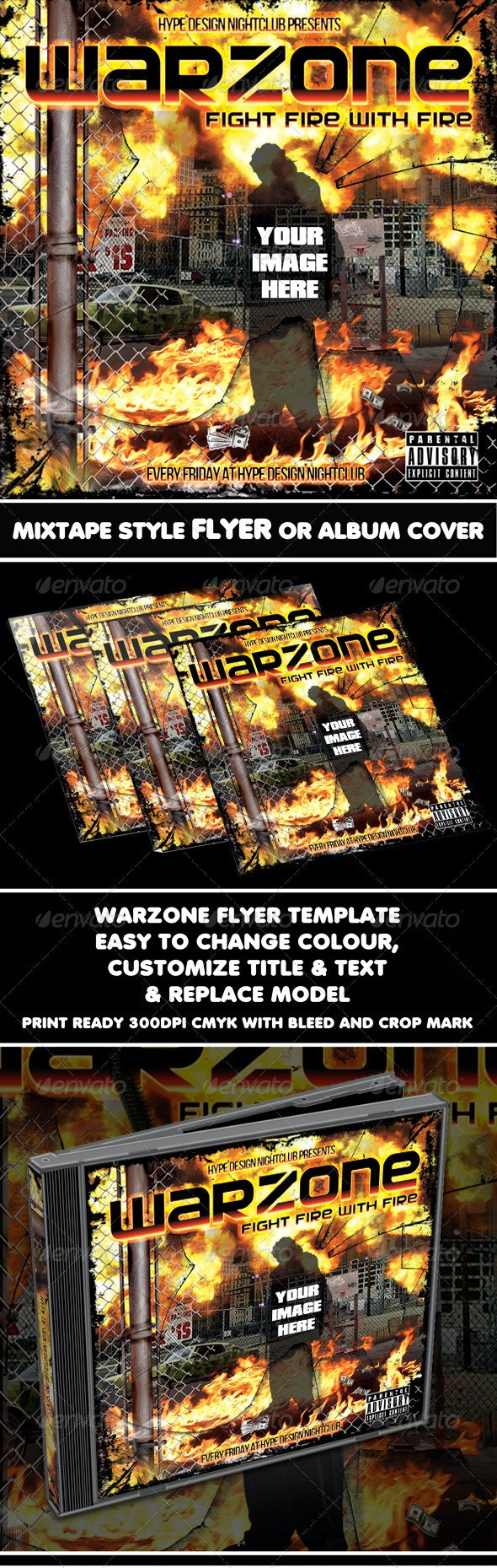 Warzone Mixtape Flyer or CD Template - CD & DVD Artwork Print Templates