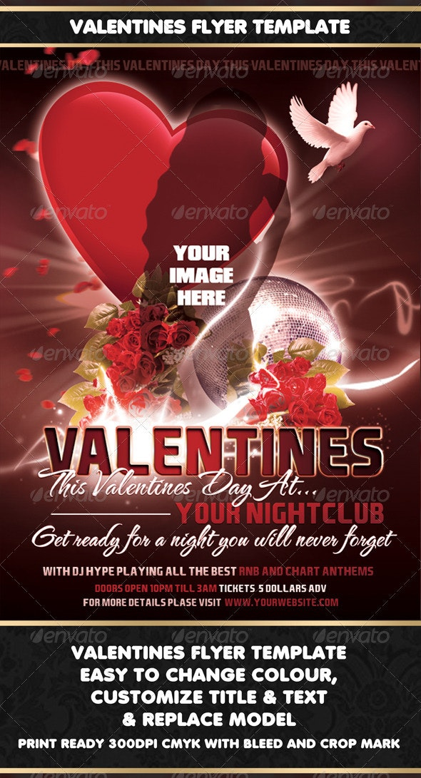 Valentines Flyer Template - Clubs & Parties Events