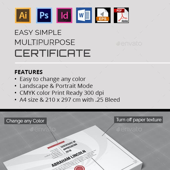 Easy Simple Multipurpose Certificate GD007
