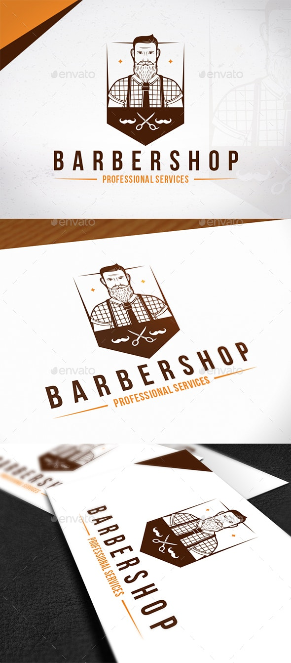 Hipster Barber Shop Emblem Logo - Humans Logo Templates