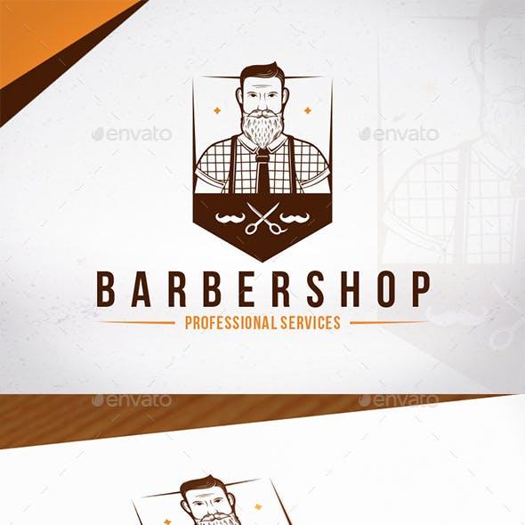 Hipster Barber Shop Emblem Logo