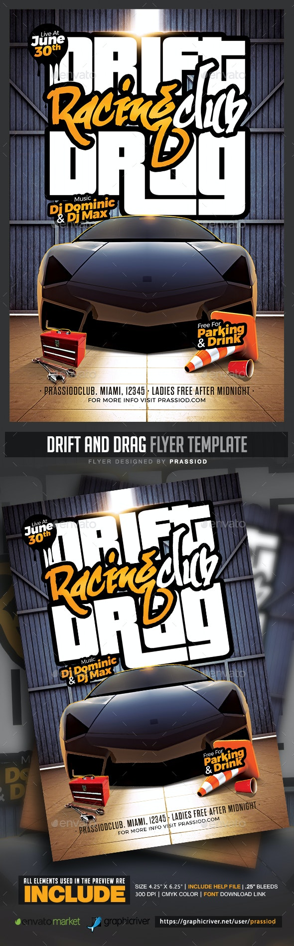 Drift And Drag Flyer Template - Miscellaneous Events
