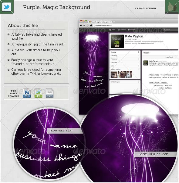 Purple, Magic Twitter BG - Miscellaneous Web Elements