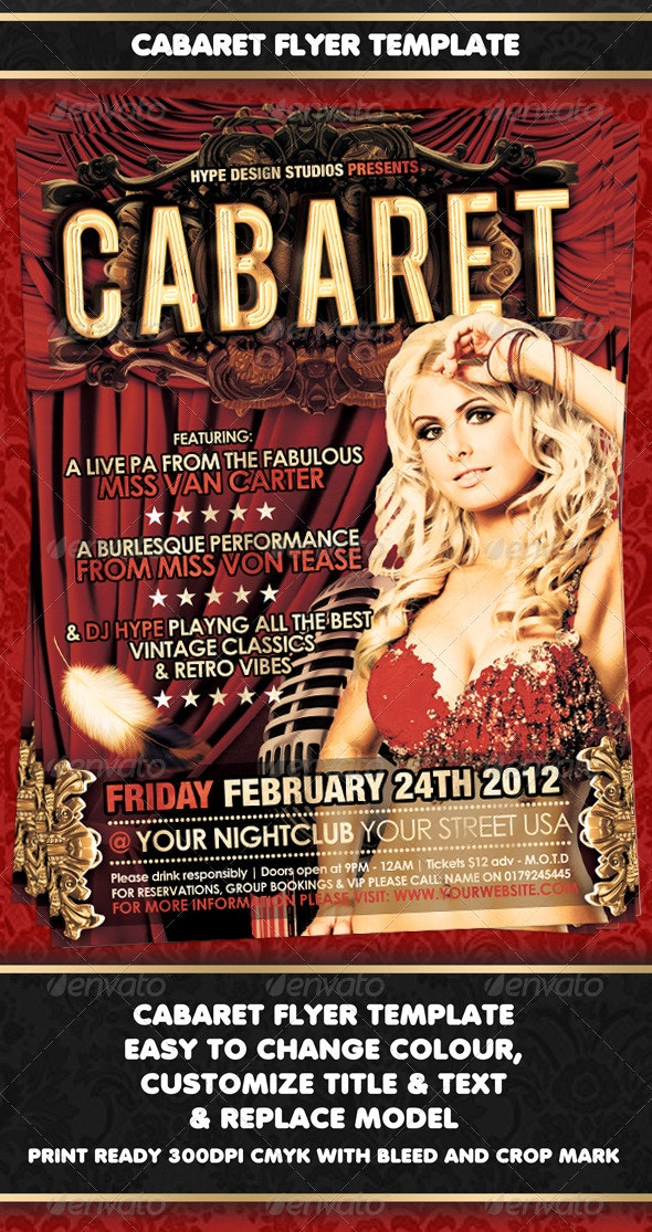 Cabaret Flyer template - Clubs & Parties Events