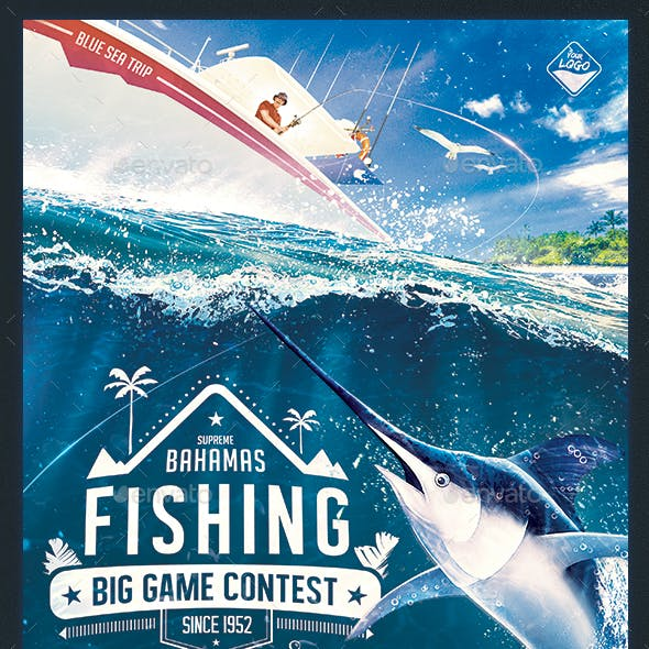 36f87b50192 Big Game Fishing Flyer - Blue-Water Fishing Poster Template