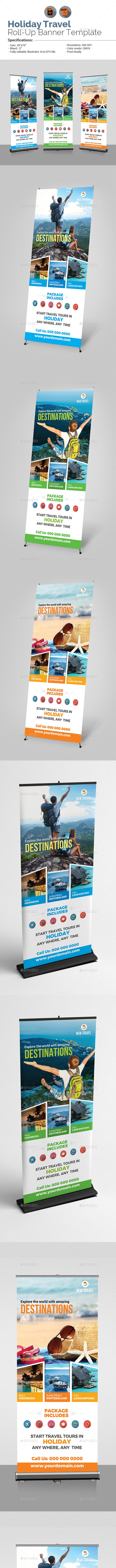 Holiday Travel Roll-Up Banner Template - Signage Print Templates