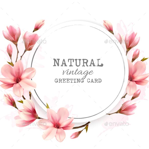Natural Vintage Greeting Card With Pink Magnolia