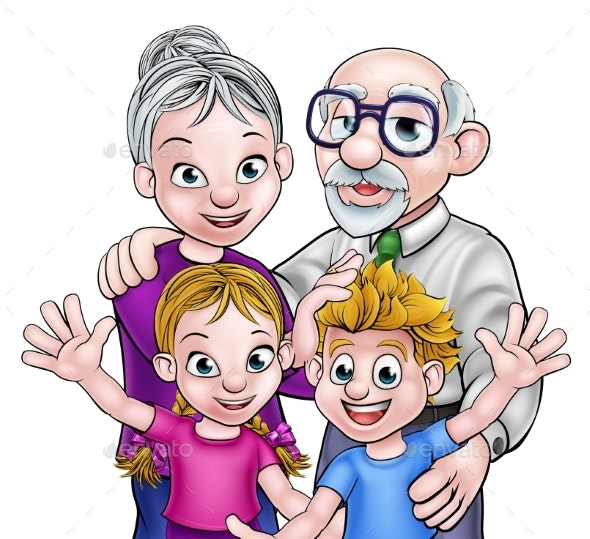 Grandparents and Children - People Characters