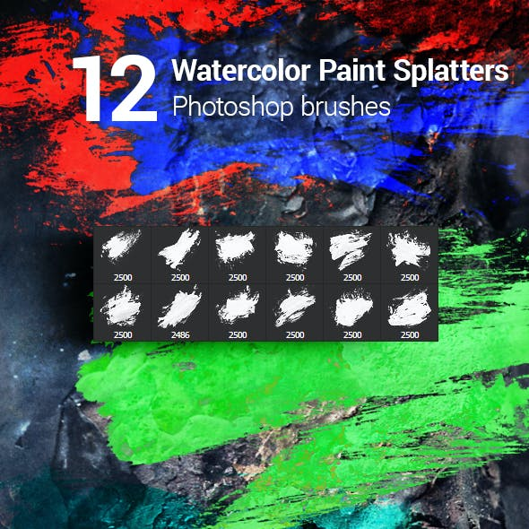 12 Watercolor Paint Splatters Photoshop Brushes