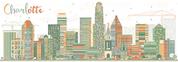 Abstract Charlotte Skyline with Color Buildings. - Buildings Objects