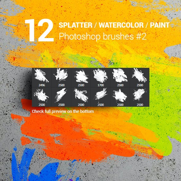 Watercolor Splatter Paint Photoshop Brushes #2