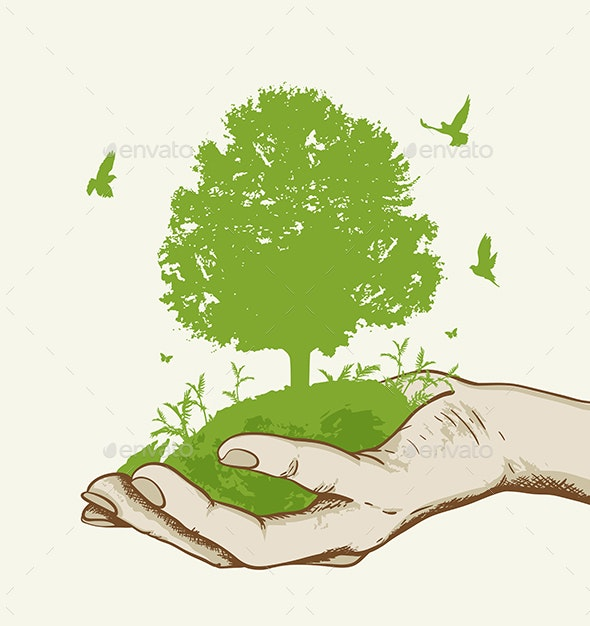 Green Tree in the Hand - Miscellaneous Vectors