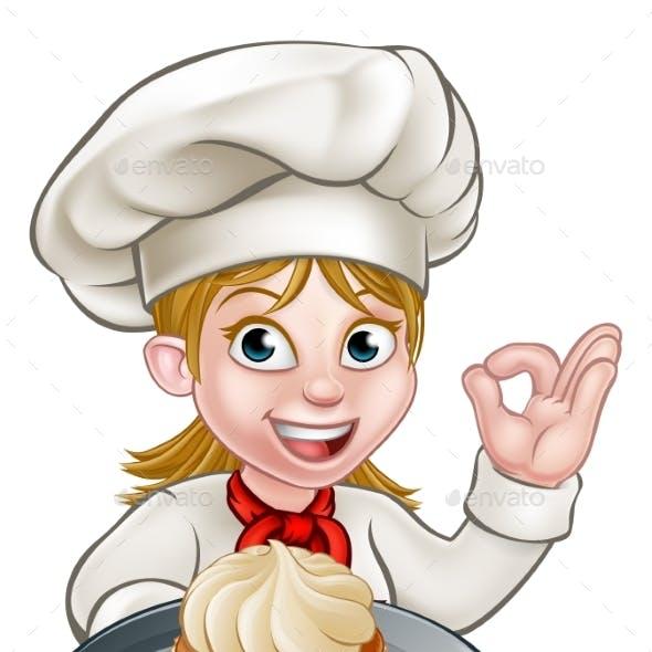 Woman Chef or Baker Cartoon
