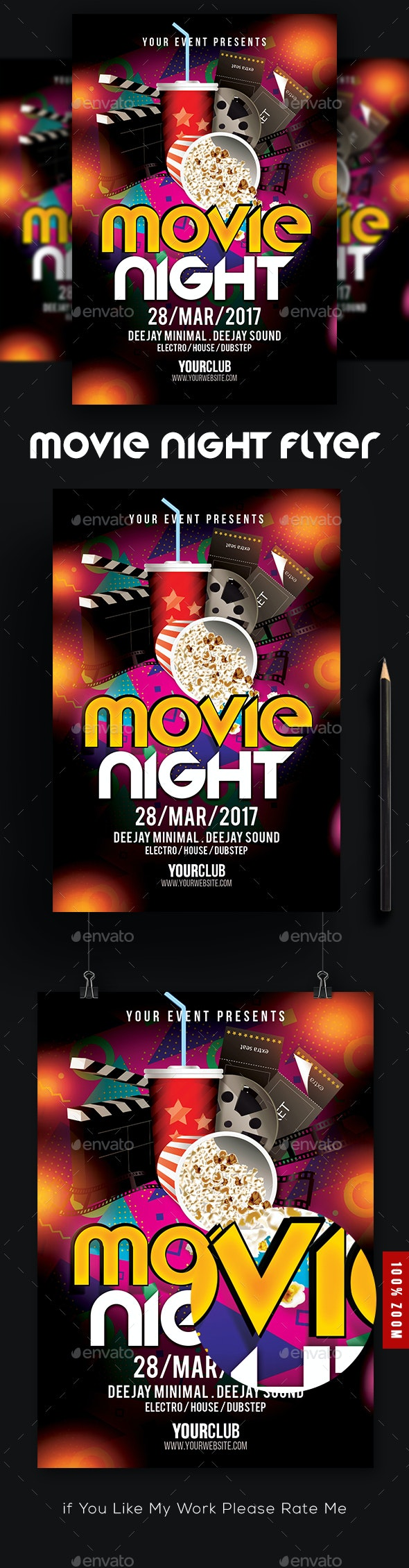 Movie Night Poster Template - Events Flyers