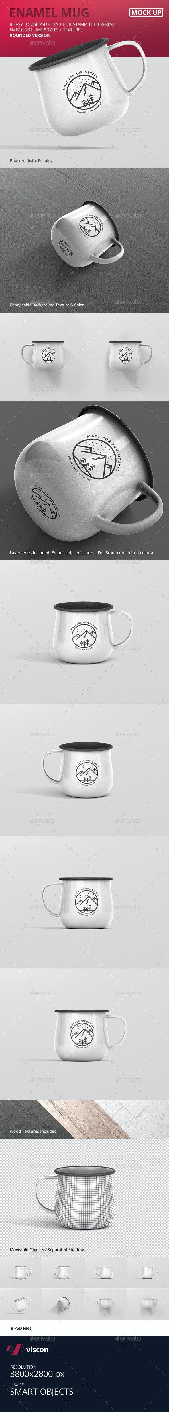 Round Enamel Mug Mockup - Logo Product Mock-Ups