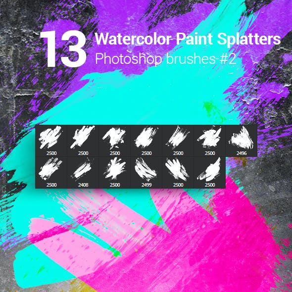 13 Watercolor Paint Splatters Photoshop Brushes #2