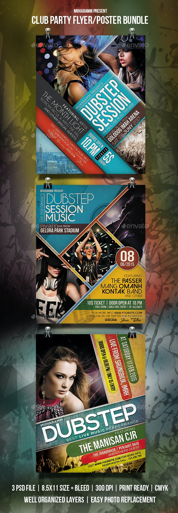 Club Party Flyer / Poster Bundle - Clubs & Parties Events