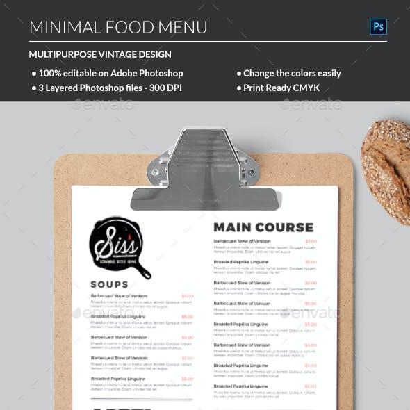 Minimal Food Menu