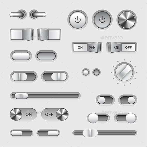 Toggle Switch Buttons Vector Set - Web Elements Vectors