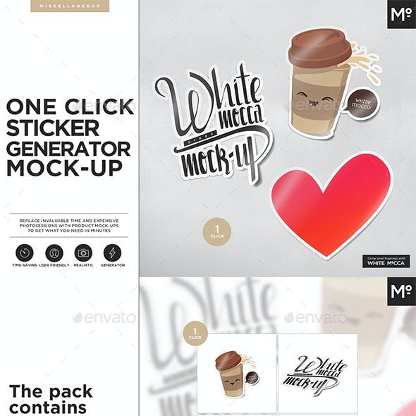 One Click Sticker Generator Mock-up
