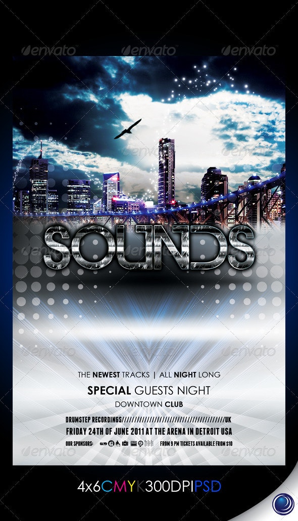 City Lights Party Flyer Template - Clubs & Parties Events
