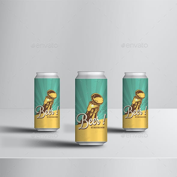 500ml Soda or Beer Can Mock-up