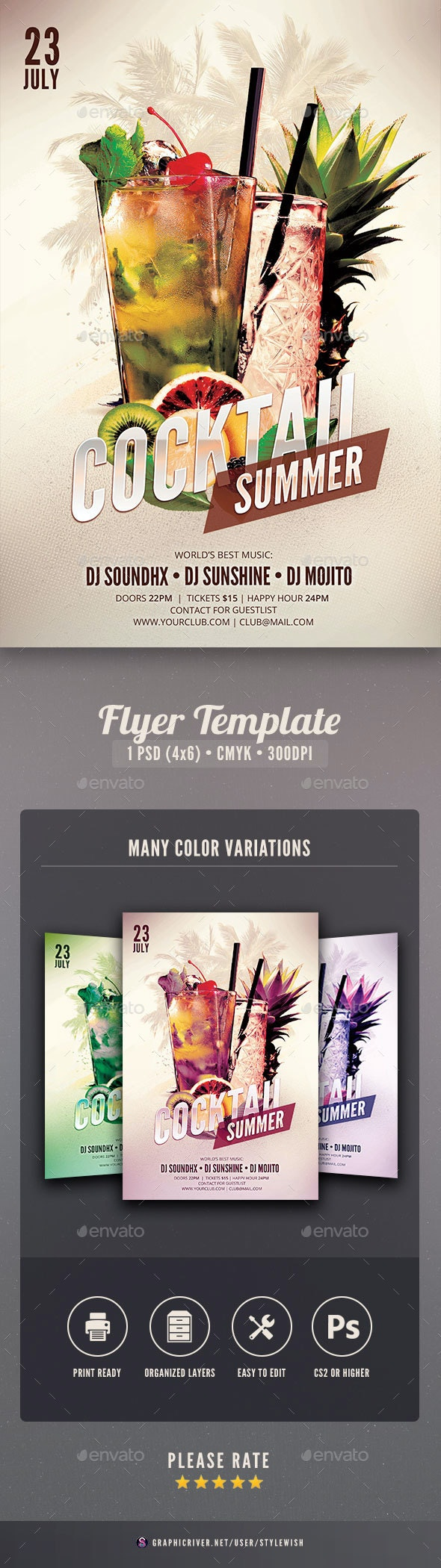 Cocktail Summer Flyer - Clubs & Parties Events