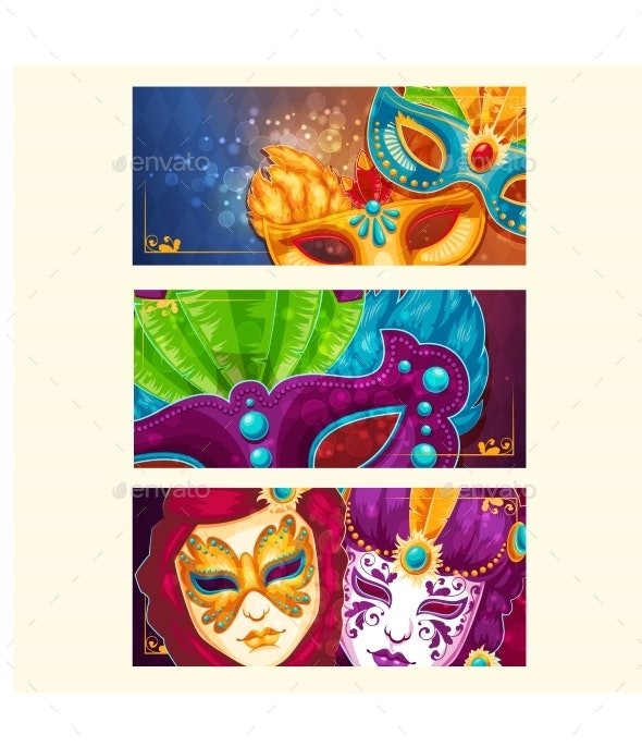 Collection of Cartoon Banners with Carnival Masks - Miscellaneous Seasons/Holidays