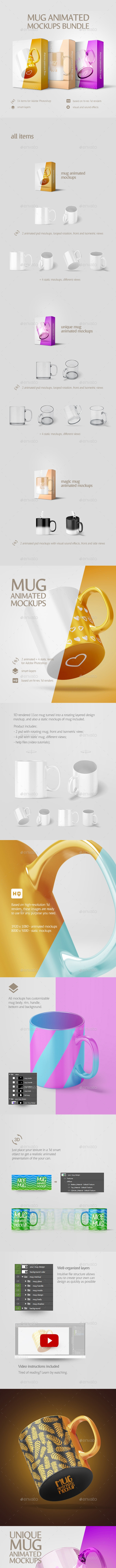 Mug Animated Mockups Bundle - Stationery Print