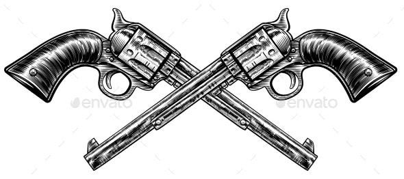 Crossed Pistol Guns - Miscellaneous Vectors