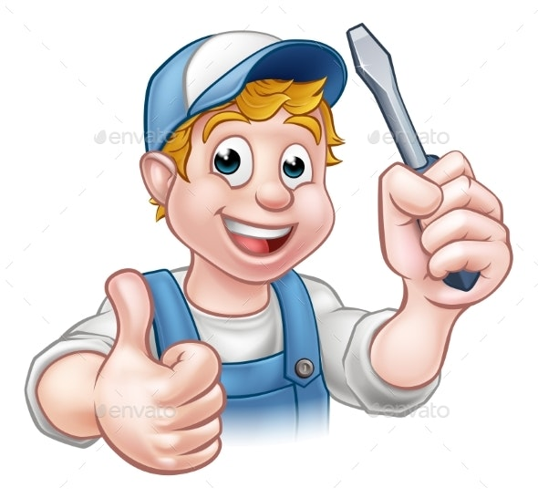 Electrician Handyman Cartoon Character - Industries Business