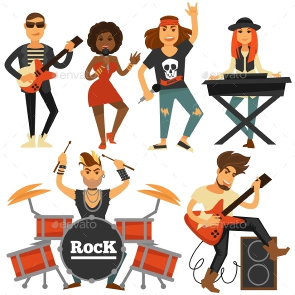 Rock Music Band Singer - People Characters