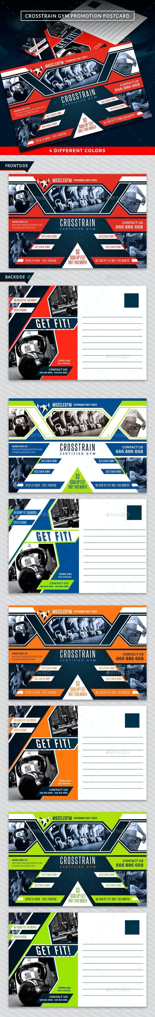 Cross Training Gym Postcard Template - Cards & Invites Print Templates