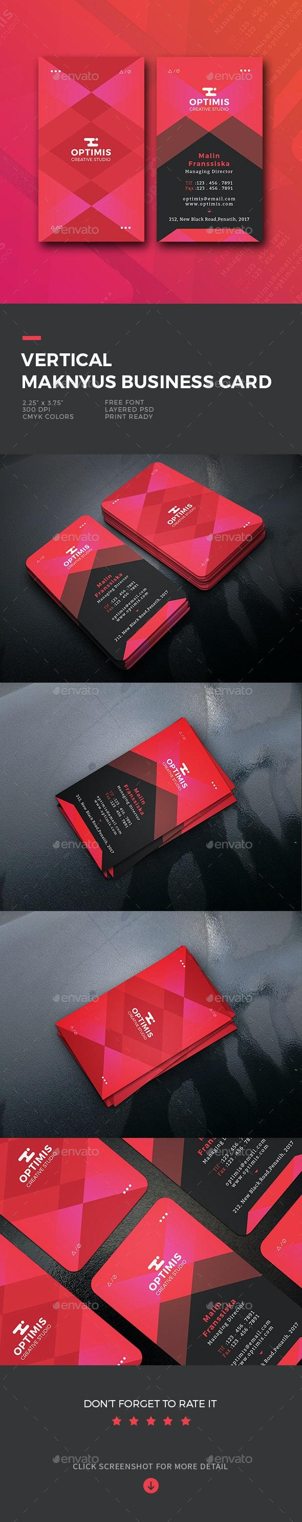 Vertical Maknyus Business Card - Business Cards Print Templates