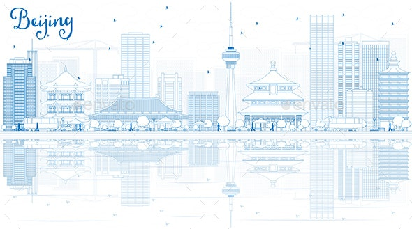 Outline Beijing Skyline with Blue Buildings and Reflections - Buildings Objects