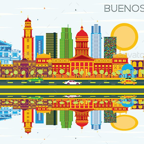 Buenos Aires Skyline with Color Landmarks, Blue Sky and Reflections