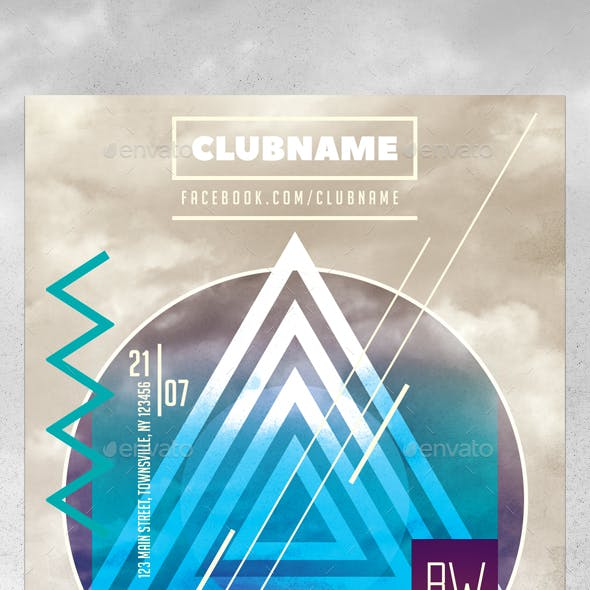 Minimal Triangle Party Flyer Template