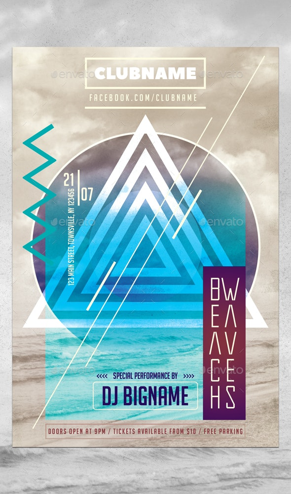 Minimal Triangle Party Flyer Template - Events Flyers