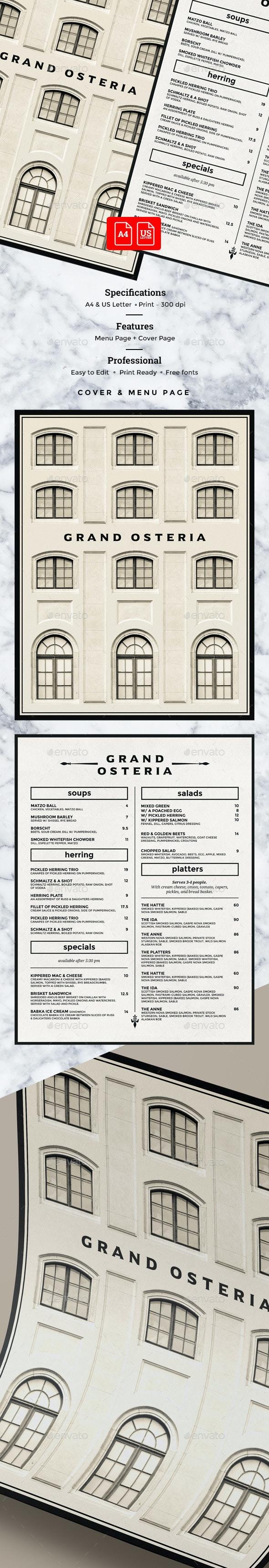 Italian Menu - Food Menus Print Templates