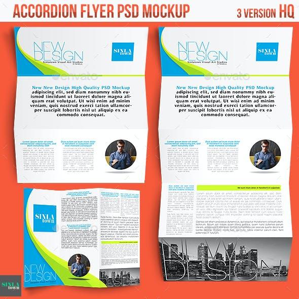 Realistic Accordion Flyer Mockup