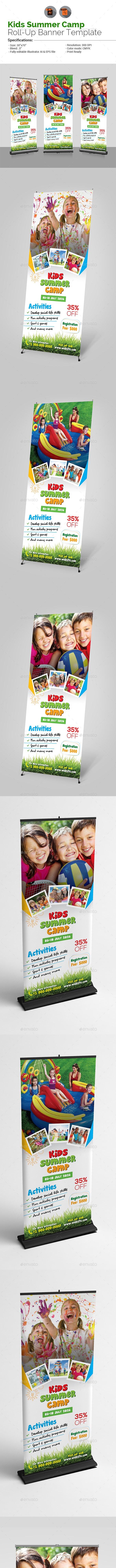Kids Summer Camp Roll Up Banner - Signage Print Templates