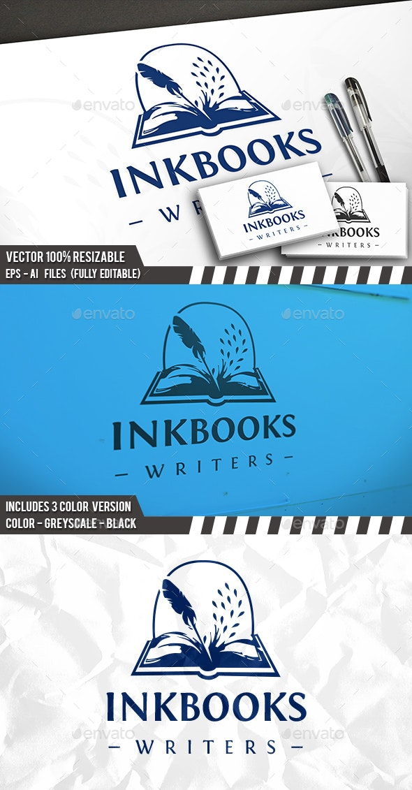 Ink Books Logo - Vector Abstract
