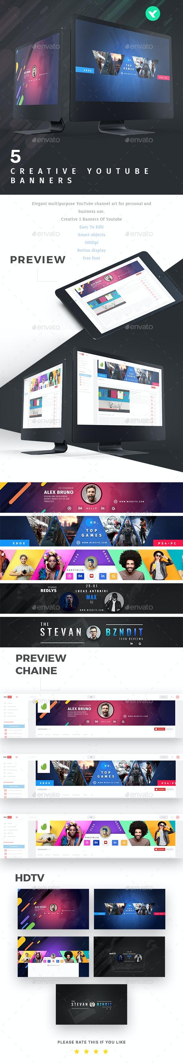 Youtube - 5 Creative Banners - YouTube Social Media