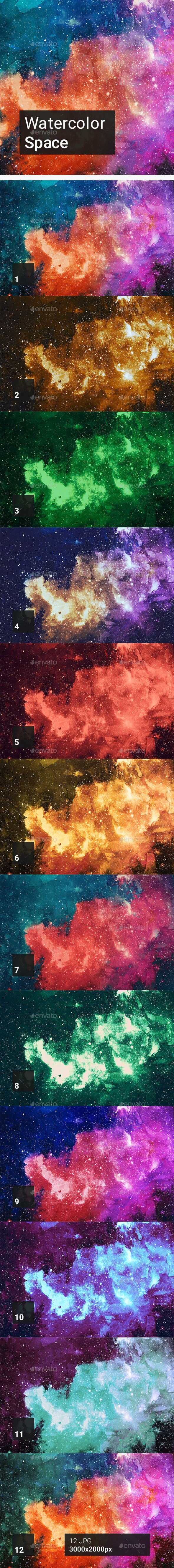 Watercolor Space Backgrounds - Abstract Backgrounds